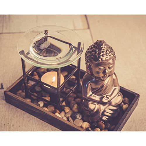 Aromalampe Teelicht Buddha Figur 14cm Duftlampe Buddhismus Deko Öl Teelichthalter Feng Shui Duftöllampe Aromabrenner Duftstövchen mit Glas Verdunsterschale Raumbeduftung Duftspender