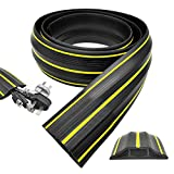 YFXcreate Floor Cable Cover 6.5 Ft Floor Cord Protector Flexible PVC Duct Cord Cover, Prevent Trip Hazard for Home Office Or Outdoor Settings(Black)