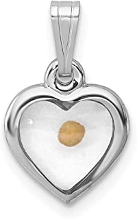 925 Sterling Silver Small Heart Mustard Seed Pendant Charm Necklace Religious Faith Hope Charity Love Fine Jewelry For Wom...