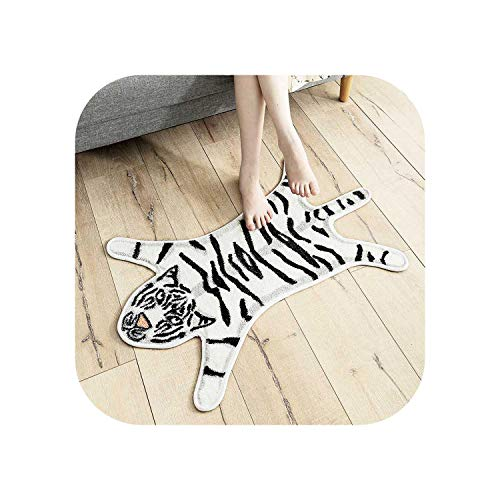 Star Harbor Shapers Naturfaser-Teppich |Regenbogen Halbkreis Tiger Sculpt Teppich Cartoon Kinderzimmer Nachtteppich Badezimmer Wasserabsorbierende Matte rutschfeste Cartoon-weiße Stil A-See Bild