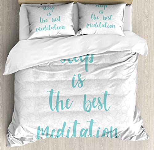Nap Quote 4 Piece Bedding Duvet Cover Set Full Size, Sleep is The Best Meditation Calligraphy with a Soft Mandala Motif Background, 4 Pcs Comforter Cover Bedspread with 2 Pillow Shams, Seafoam Pearl