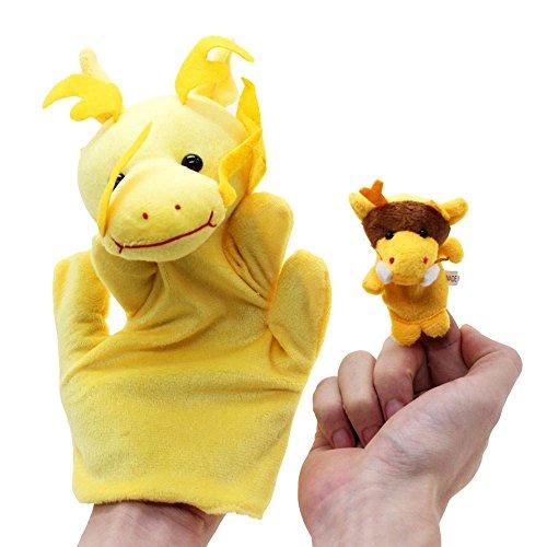 VANKER 2Pcs Cartoon Biologique Jouet Marionnette de Doigt Peluche Modèle Dragon Grand + Petit