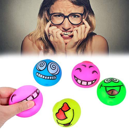 Bola de estrés Emoji, 4 Bolas Divertidas para apretar Emoji - Alivio del estrés y la ansiedad - Juguetes pequeños para Ejercicios Fidget - Juguetes Ideales para niños Adultos