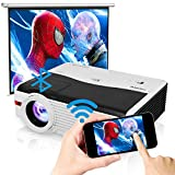Wireless Projector Android Smart HD Video Projector Wifi Bluetooth 6200 Lumen LCD LED Home Theater Outdoor Movie Gaming HDMI USB Audio VGA AV Zoom for Smartphone TV DVD Game Consoles Laptop PC Tablet