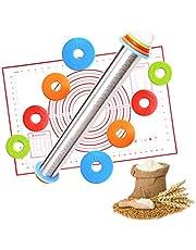 HEPAZ deegroller met metalen as, deegroller als bakaccessoire, bakrol van beukenhout voor deegrollen - stabiel en duurzaam (afmetingen: Ø 6,3 x 44 cm), hoeveelheid: 1 stuk