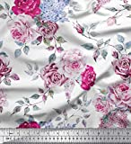 Soimoi Rosa Samt Stoff Blätter & Rose Blume Print Stoff