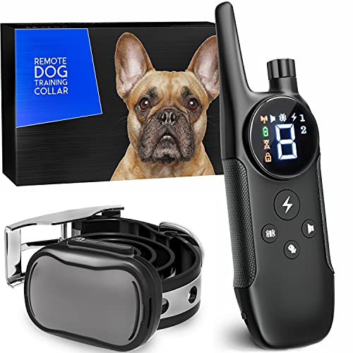 Small Size Dog Training Collar with Remote - Perfect for Small Dogs 5-15lbs - Waterproof & 1000 Feet Range - Grey