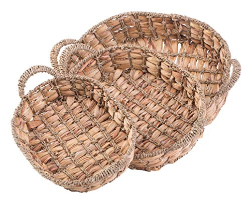 Vintiquewise QI003546.3 Seagrass Fruit Bread Basket Tray with Handles, Set of 3, Brown