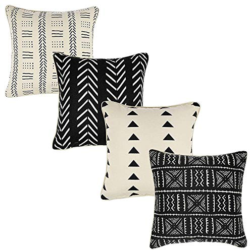 Tamengi Throw Pillow Cushion Covers-Woven Decorative Farmhouse Cases Set for Couch, Sofa, Bed, Farmhouse, Chair, Dining, Patio, Outdoor, Car; 100% Cotton (18x18; Navy) Pack of 4