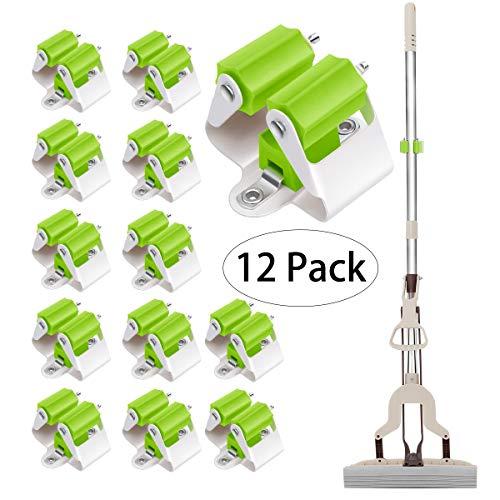 3-H Gerätehalter für Haushalts- und Gartengeräte– Wandhalterung – Besenhalter Gartenhaus & Garage – Besenklemme für Türen,Wände, Mauern – bis 4Kg (Grün 12 Stück)