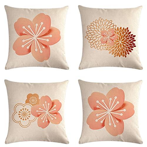 JOVEGSRVA Juego de 4 fundas de cojín decorativas de lino y flores rosadas para el hogar, oficina, sofá, coche, jardín, 45 x 45 cm