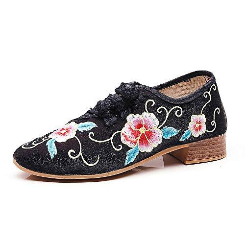 CXYY Bestickte Schuhe, Bestickte Chinesische Blumenschuhe Für Frauen, rutschfeste Gummisohle Und Exquisiter National Wind Dance Schuh Mit Handstickerei,Schwarz,EU34