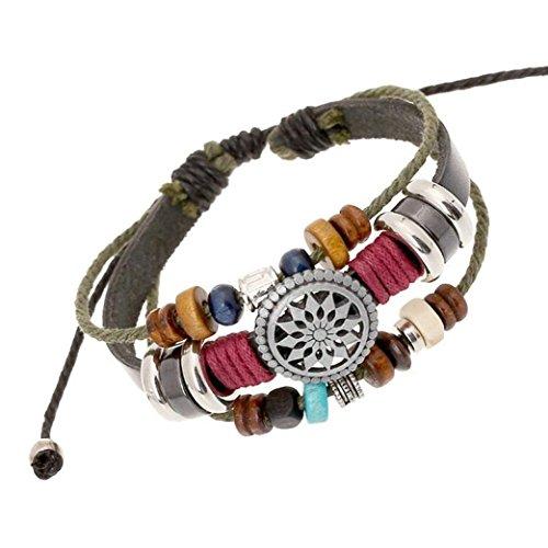 Sunnywill Mehrschichtige Hand Wind Perlen gewebt Armband Vintage Bohemia für Mädchen Frauen Damen (Schwarz)