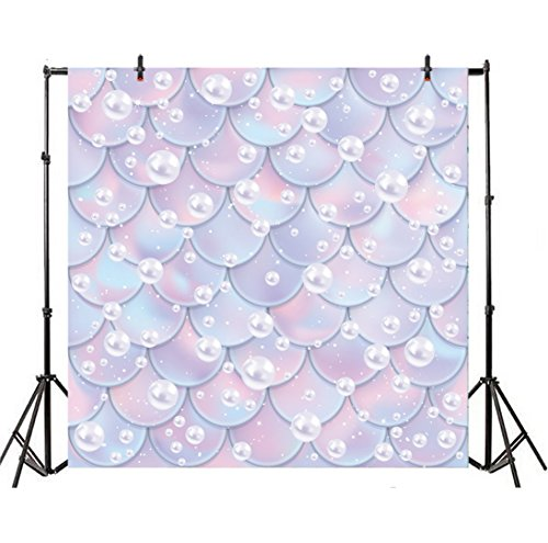 Leyiyi 7x7ft Photography Background Glittering Mermaid Scales Wedding Backdrop Watercolor Fish Scales Pearls Birthday Henna Party Baby Shower Summer Banquet Bridal Photo Portrait Vinyl Studio Prop
