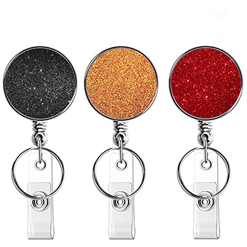 Retractable Badge Holder, ID Badge Reel Decorative ID Name Card Clip Extension 25inch with Belt Clip and Keyring for Doctor,Nurse,Teacher,Staff,Student (Black Gold Orange Red 3 Pieces)