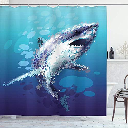 Shark Duschvorhang,Digital Psychedelic Shark mit Tröpfchen Scary Atlantic Beast Abstrakte Grafik,Stoff Stoff Badezimmer Dekor Set mit Blaugrau mit 12 Kunststoffhaken 180x180cm