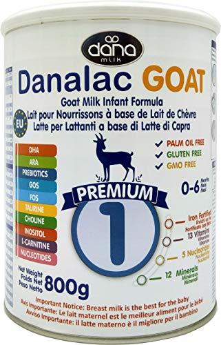 Danalac Premium Lait Bébé en Poudre à Base de Lait de Chèvre 1er Age pour Nourrissons/Bébés de 0 à 6 Mois Formule EU-2020 800 g