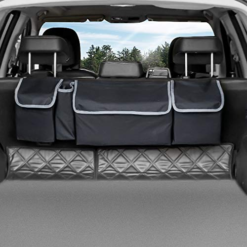 Trunk Organizer Car Storage, Seat Back Storage to Keep Car Trunk Neat, Car Trunk Storage Organizer for SUV Gives You a Big Space Back Seat Trunk, Car Cargo Organizer Frees up Your Trunk Floor, Black