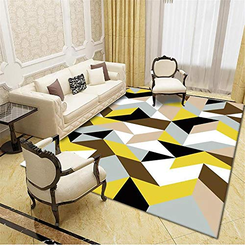 DJHWWD Bed Room Carpets For Floor yellow Carpet salon yellow irregular geometric pattern soft carpet durable Garden Rugs Large Waterproof 140X200CM Large Living Room Rugs 4ft 7.1''X6ft 6.7''