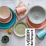 MÄSER 931602 Bel Tempo II Teller-Set für 6 Personen im modernen Vintage Look, 12-teiliges Tafelservice, handbemalt, Dunkelblau, Steingut, Blau - 6