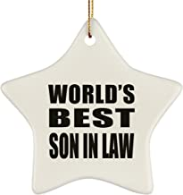 World's Best Son in Law - Star Ornament Christmas Tree Ceramic Decor-ation - Fun-ny Gift for Family Mom Dad Kid Grand-Parent Birthday Anniversary Christmas Thanksgiving