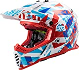 LS2 404373302S - Casco de Motocross MX437 Fast EVO Funky, Unisex, Rojo/Blanco, Talla S