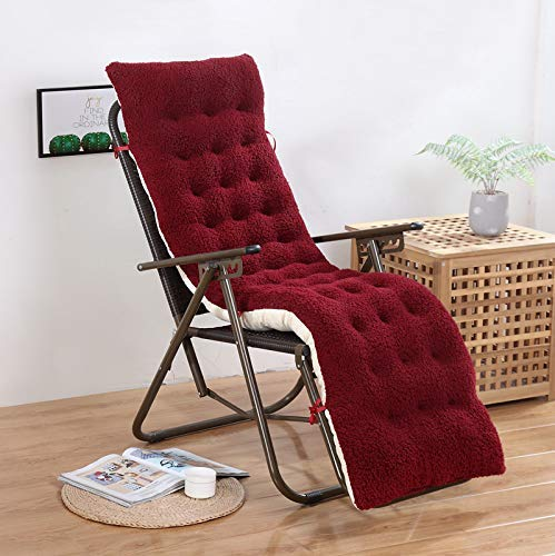 BANNAB High Back Chair Cushion,patio Chair Pads Lounger Patio Cushion Seat/back Cushion,non-slip Lamb Velvet Thickened Cushion,armchair Chaise Lounge Rocking Chair Chair Cushion No Chair Red 61x19in