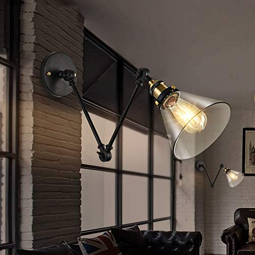 Lámpara de pared nórdica cama de dormitorio faro industrial retro wergglar plegable pared telescópica luz creativa rocker brazo pared de pared,Black