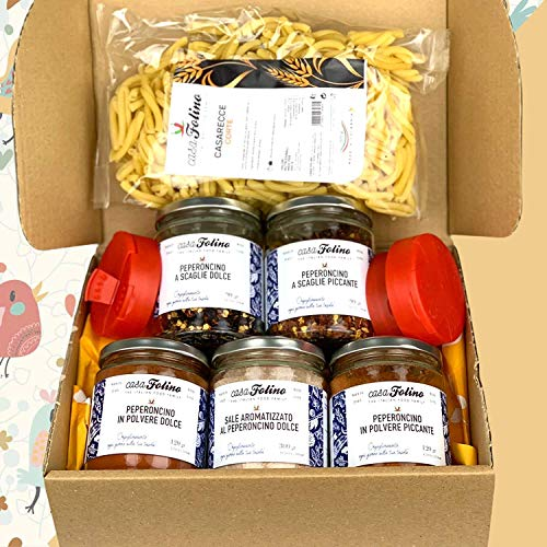 Box Degustazione di 'Spezie di Calabria' . Una selezione di 5 vasetti in vetro più tappo dosatore di peperoncino dolce e piccante calabrese. Ottima idea regalo. CasaFolino