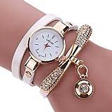 LSAltd Heiß Frauen Mädchen Klassische lederne Rhinestone Uhr analoge Quarz Armbanduhren großes Geschenk (Weiß)