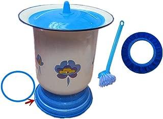 JFDKDH Ceramics Hamber Pot Bedpan Urinal Basin Urine Buckets Potty Urinals Toilet Chamberpot Urine Non-Slip Vintage Enamel High-Footed Old Man Children Potty Child Toilet Bowl (Color : Blue)