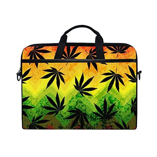 DOSHINE Laptop Bag Case Sleeve Colorful Marijuana Leaves Hemp Notebook Computer Bag for 14-14.5 inch Adjustable Shoulder Strap, Back to School Gifts for Men Women Boy Girls