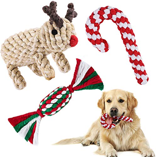 Elcoho Christmas Dog Chewing Toys Pets Christmas Stocking Gifts Dog Chew Training Toys Assorted Reindeer Knotted Rope Styles for Small Medium Large Dog
