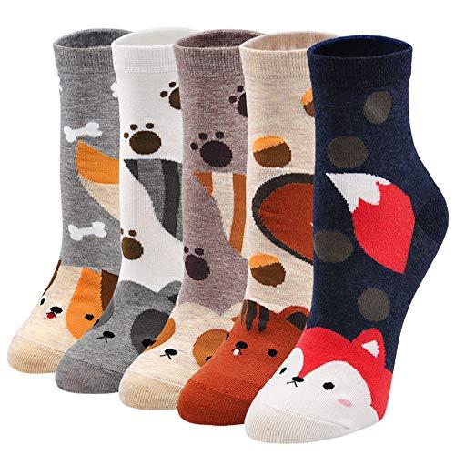 ZFSOCK Lustige Socken Damen Bunte Socken mit Tiermotiv, Baumwolle Socken mit Witzig Muster Hund Katze Fuchs Eichhörnchen,für Frauen Mädchen Weihnachten Geburtstag 5 Paare Gr.35-42