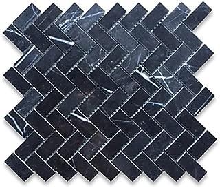 Nero Marquina Black Marble Herringbone Mosaic Tile 1 x 2 Polished