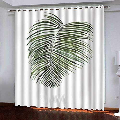 3D Tree Leaf Printing Curtains Modern Bedroom Living Room Blackout Curtains Polyester Quick-Drying Waterproof And Durable Household Items (2 Pieces)