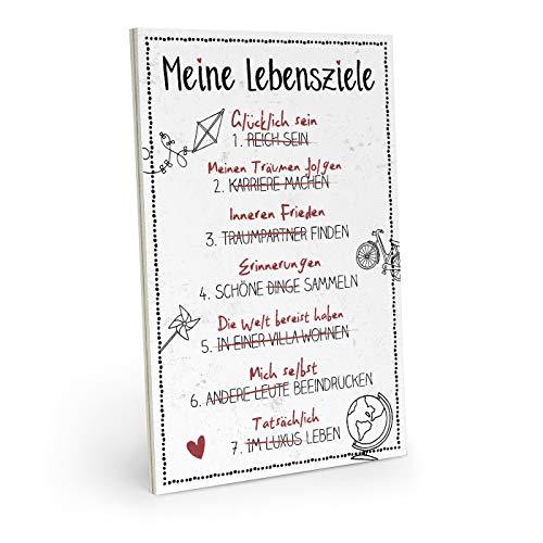 ARTFAVES Holzschild mit Spruch - Meine LEBENSZIELE - Vintage Shabby Deko-Wandbild/Türschild