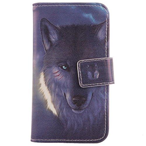 Lankashi PU Flip Leder Tasche Hülle Hülle Cover Handytasche Schutzhülle Etui Skin Für Archos 50 Helium / 50b Helium 4G Wolf Design
