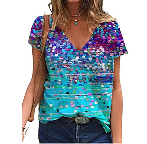 SLYZ Camiseta con Cuello En V para Mujer De Verano Top Degradado En 3D 5XL Camiseta De Moda De Manga Corta Informal De Talla Grande para Mujer
