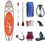 MJ-Brand Hinchable Stand Up Sup Paddle Board Ajustable Paddle Carry Carry Mochila Doble Tobillo Correa De Seguridad Cubierta Antideslizante con JóVenes Y Adultos
