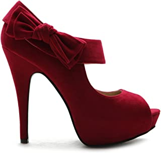 Women's Shoe Platform Open Toe High Heel Ribbon Accent Multi Color Pump