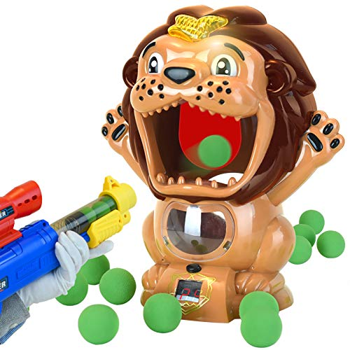 Aimatkid Lion Shooting Games Toddler Toys for 4 5 6 7 8 Year Old Boys Girls Gifts Air Pump Gun Party Kids Toys with LCD Score Record Sound 24 Soft Foam Blasters Electronic Target Practice Toys