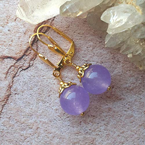 Purple Lavender Jade Earrings Round Dangles Gold Plated Lever Backs in Gift Box