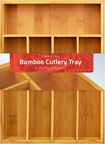 Bamboo Cutlery tray-Silverware Organizer-5 compartment-by Utopia Kitchen