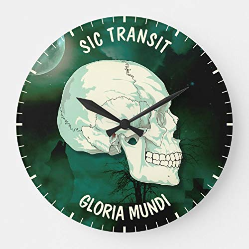 daoyiqi Dekorative Holzuhr, nicht tickende Uhr 12 Zoll Sic Transit Gloria Mundi Vintage Türkis Totenkopf Große Uhr Runde Uhr Wanduhr