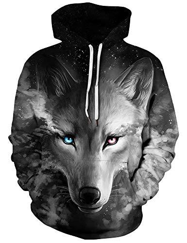 ALISISTER Unisex Wolf Hoodies Männer Damen 3D Print Kapuzenpullover Boys Girls Sport Hooded Hoodies Sweatshirt Black M