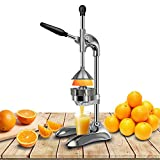 Manual Stainless Steel Citrus Juicer, Labor-Saving Detachable Fruit Squeezer Machine with Large Caliber for Home/ Kitchen/Business