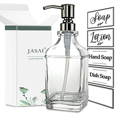 JASAI Antique Design 18Oz Soap Dispenser with Jumbo Rust Proof 304 Stainless Steel Pump, Refillable Hand Soap Dispenser with 6Pcs Clear Stickers, Premium Kitchen