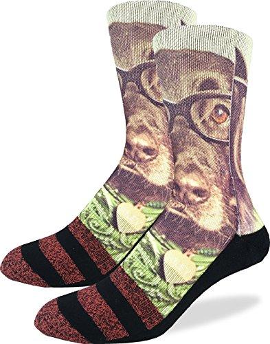Good Luck Sock Men's Hipster Dog Crew Socks - Black, Adult Shoe Size 8-13