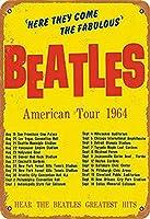 ビートルズはここで、彼らは1964年の美しいアメリカツアーに来て、レトロな金属のスズのロゴレトロなロゴの家庭のコーヒーの壁の装飾8x12インチ